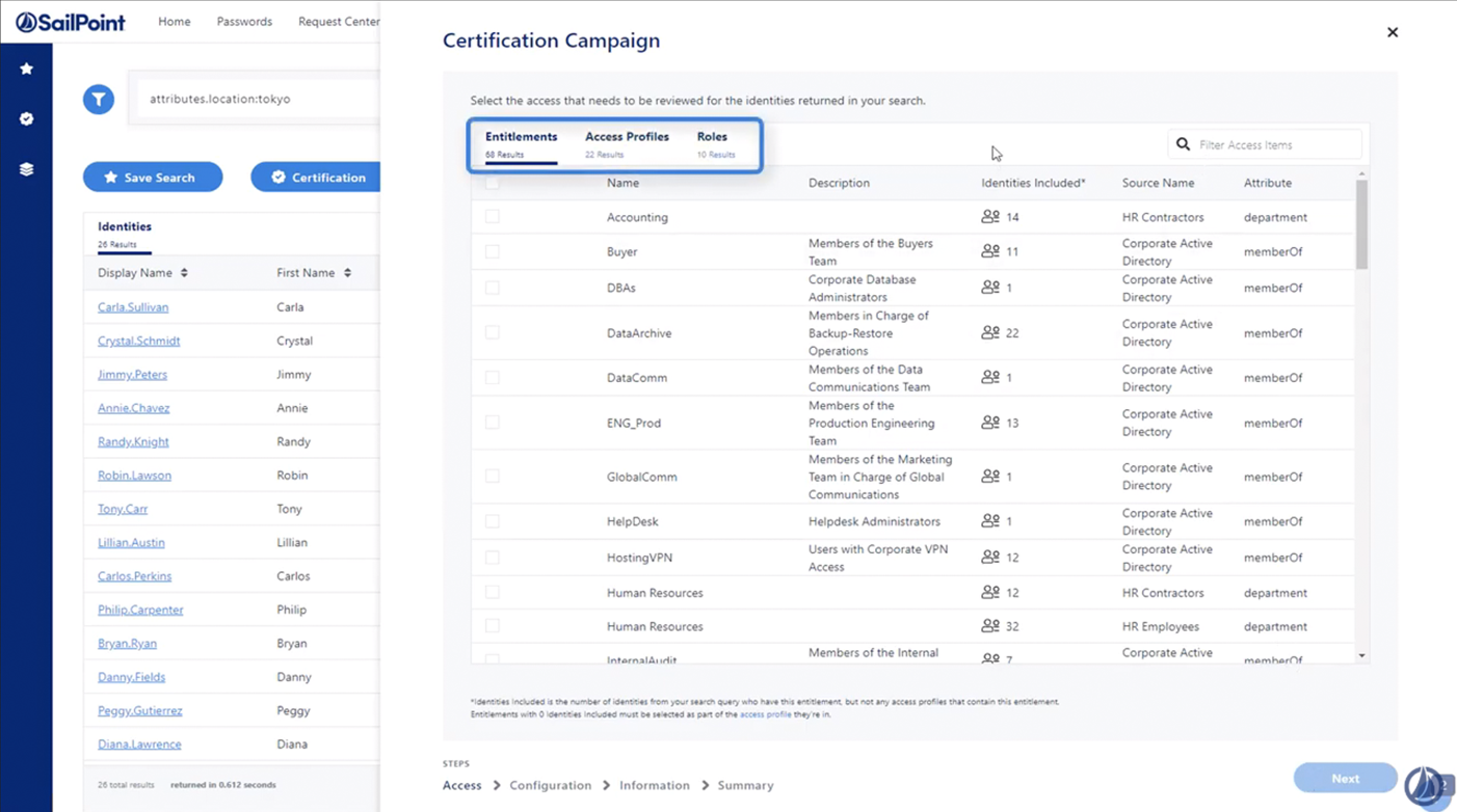 Screenshot of IdentityNow software - certification completion capabilities