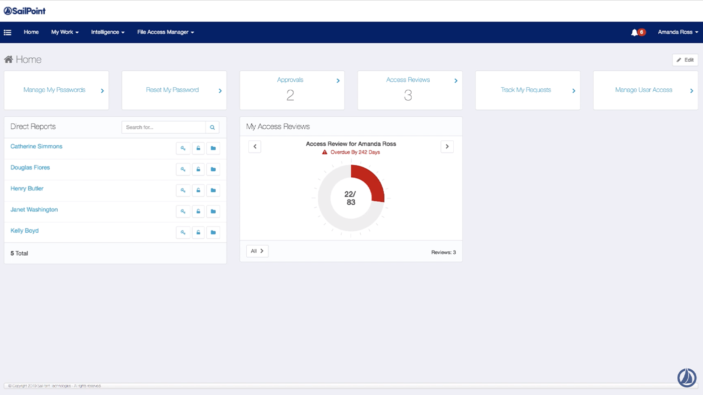 Screenshot of IdentityIQ software - dashboard