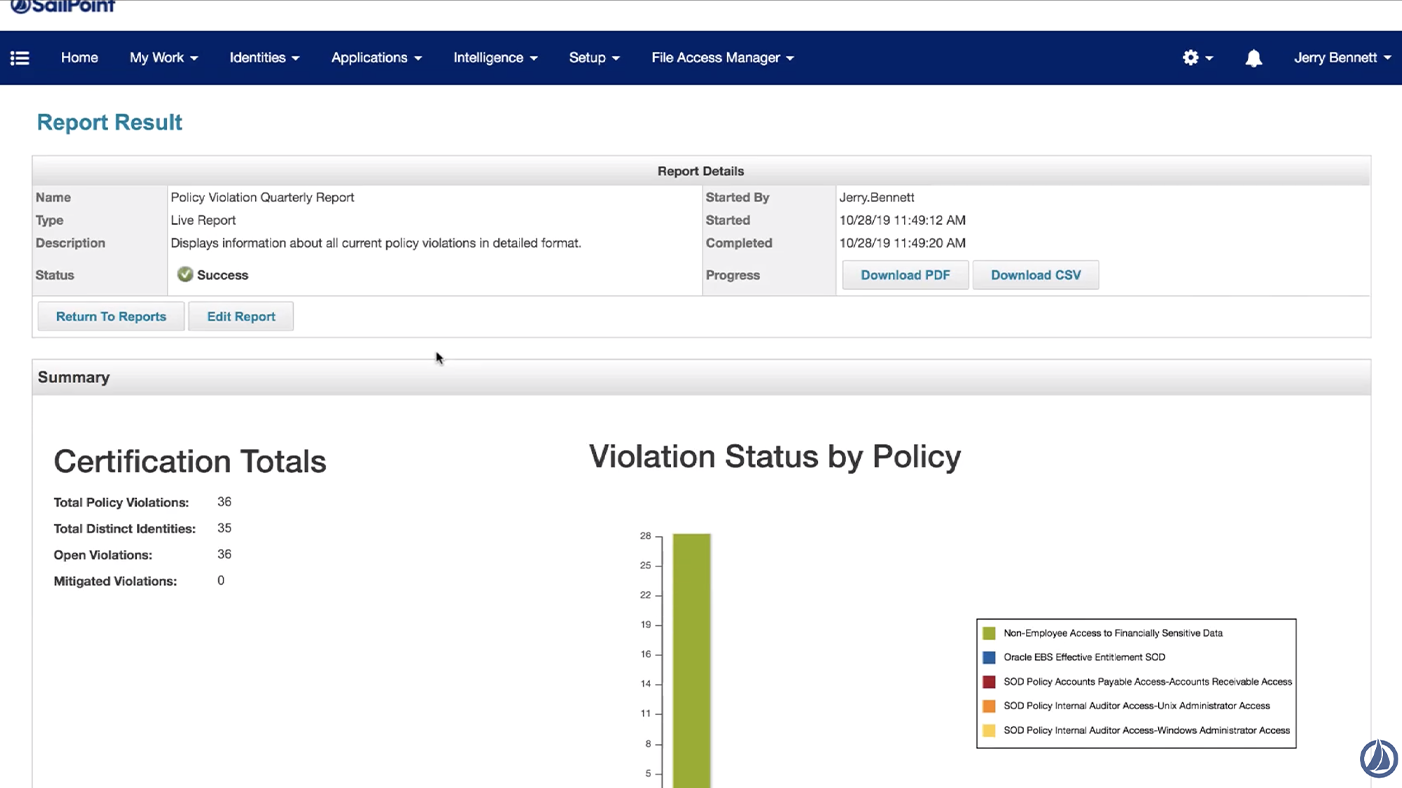 Screenshot of IdentityIQ software - reporting capabilities